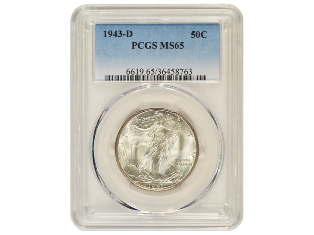 1943-D Walking Liberty Half Dollar Coin PCGS MS65