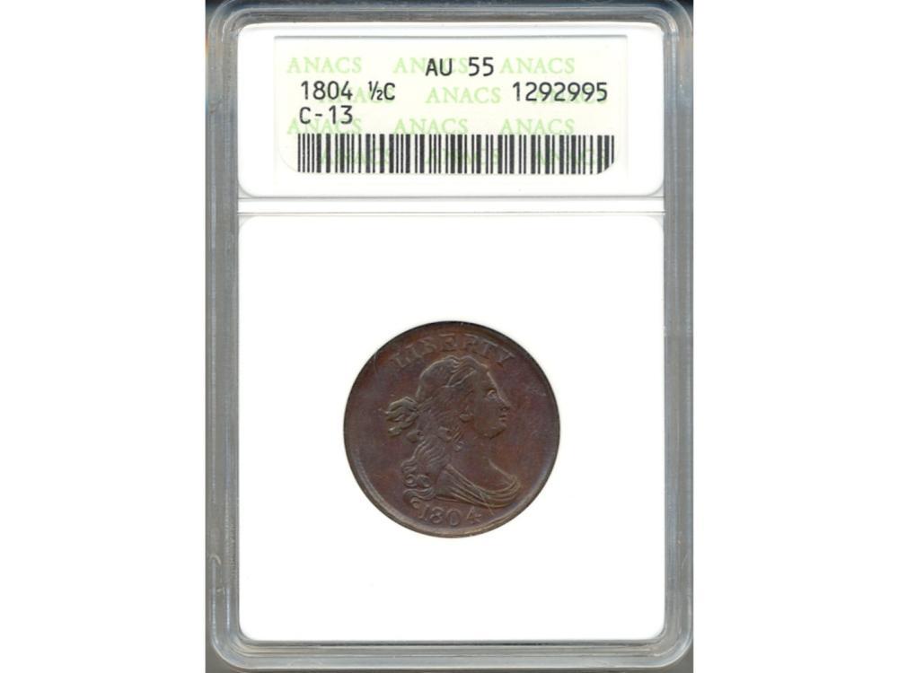 1804 Liberty Half Cent Coin ANACS AU55