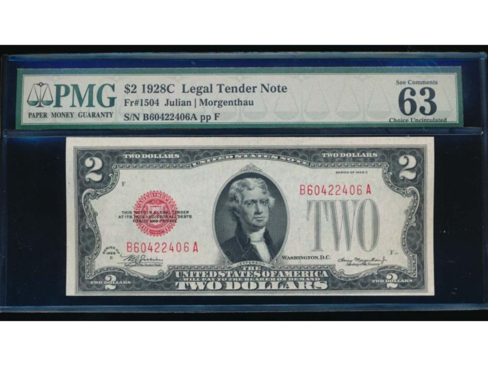 1928C $2 Legal Tender Note PMG 63