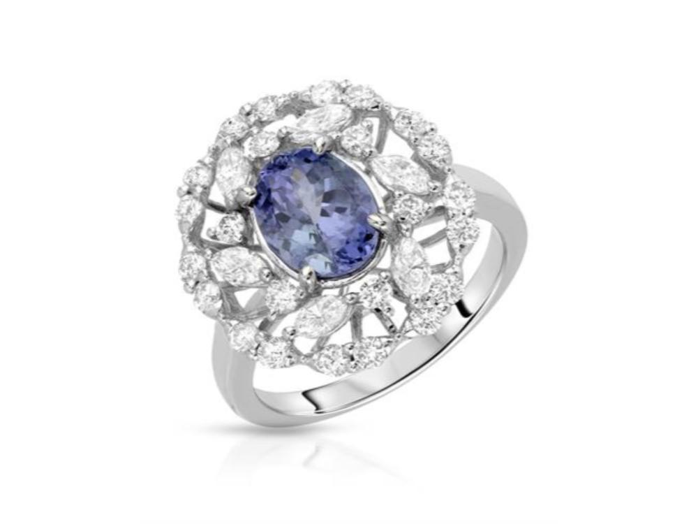 14KT White Gold 1.70ctw Tanzanite and Diamond Ring