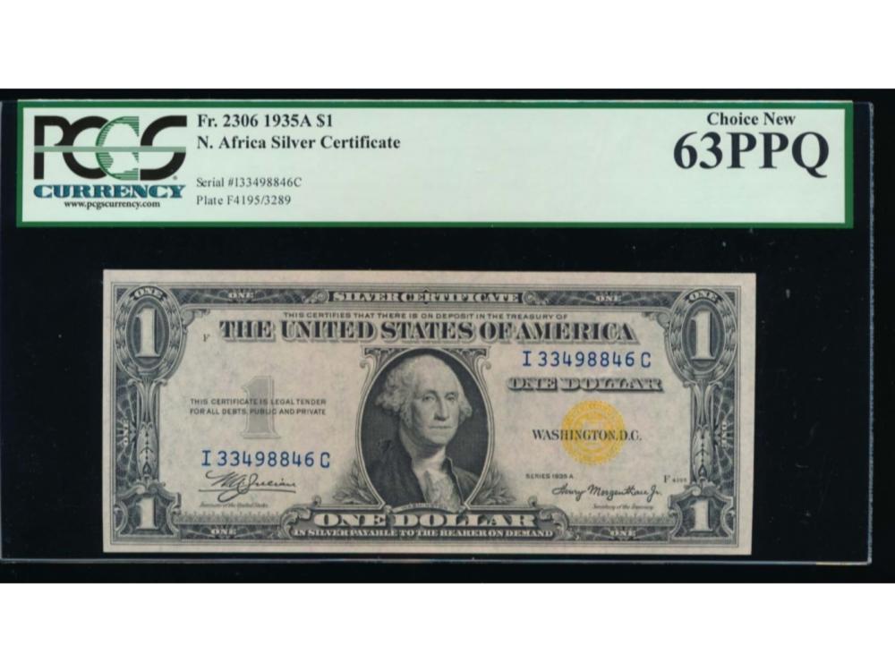1935A $1 North Africa Silver Certificate PCGS 63PPQ