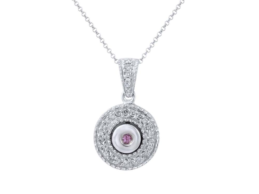 14KT White Gold Pink Sapphire and Diamond Pendant with Chain