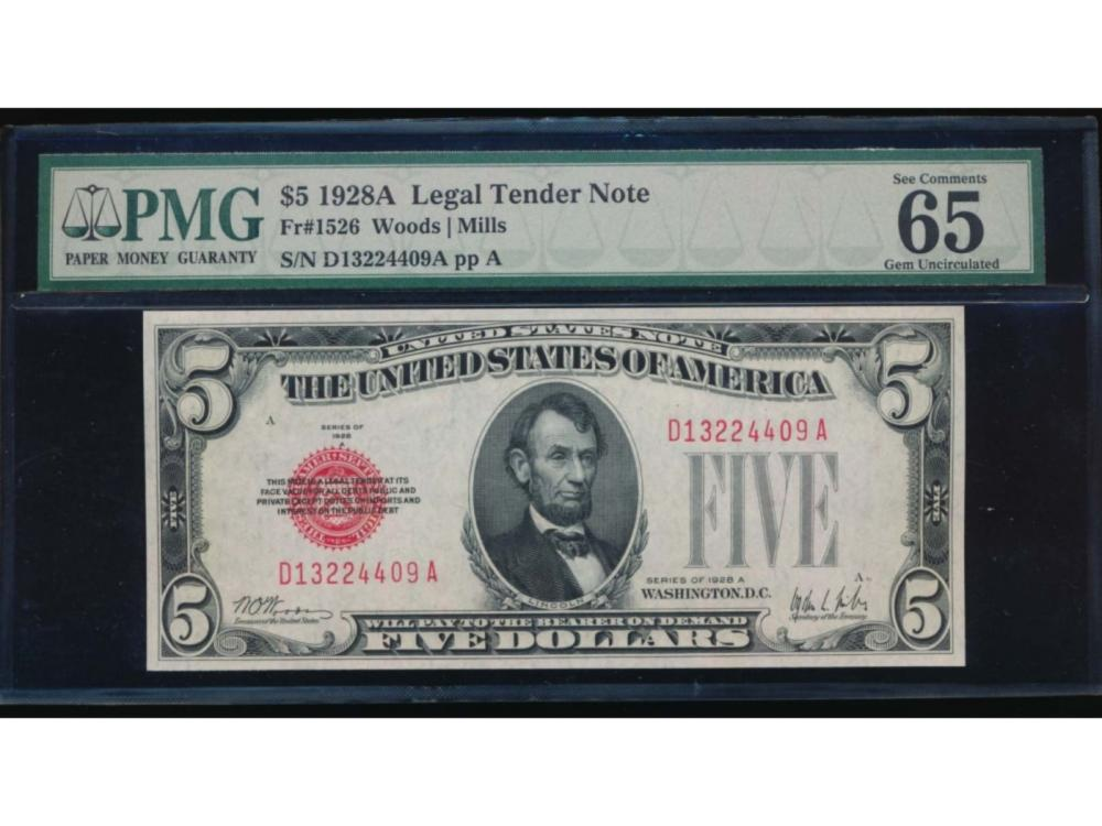 1928A $5 Legal Tender Note PMG 65