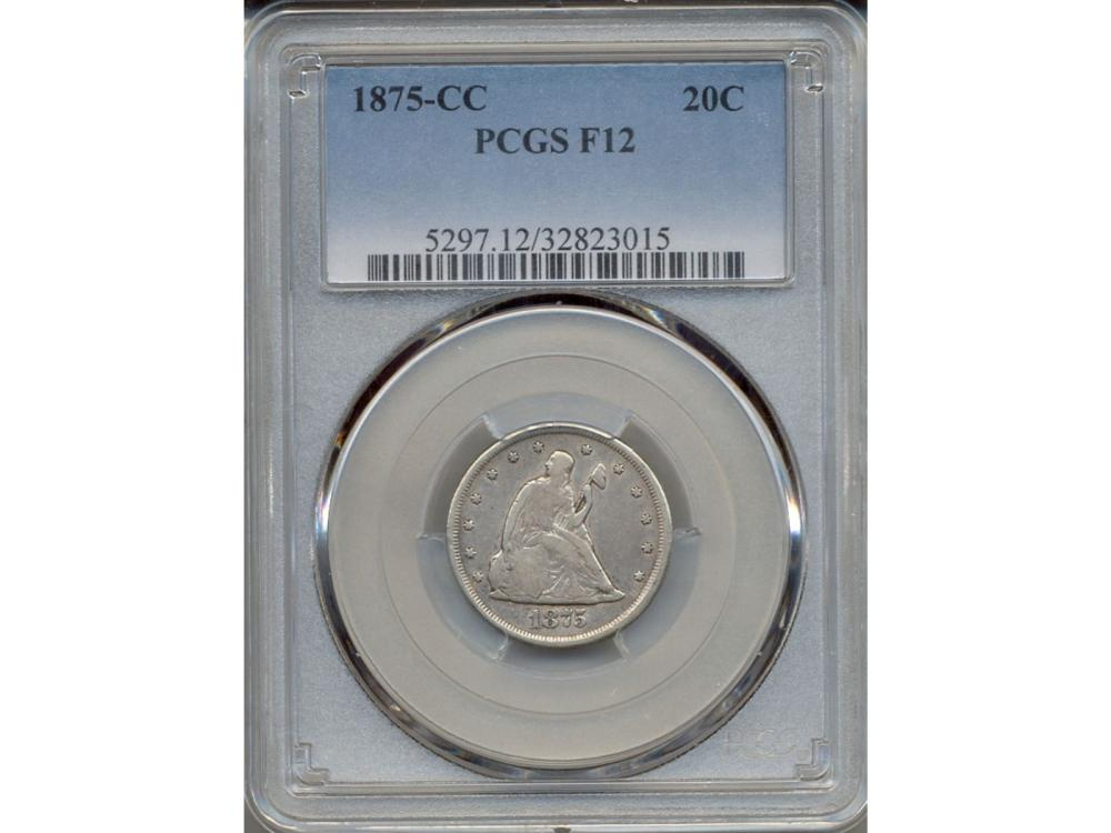 1875-CC Seated Liberty 20 Cent Coin PCGS F12