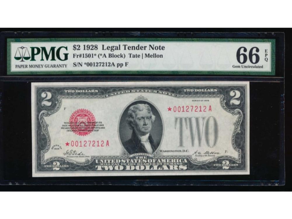 1928 $2 Legal Tender Star Note PMG 66EPQ