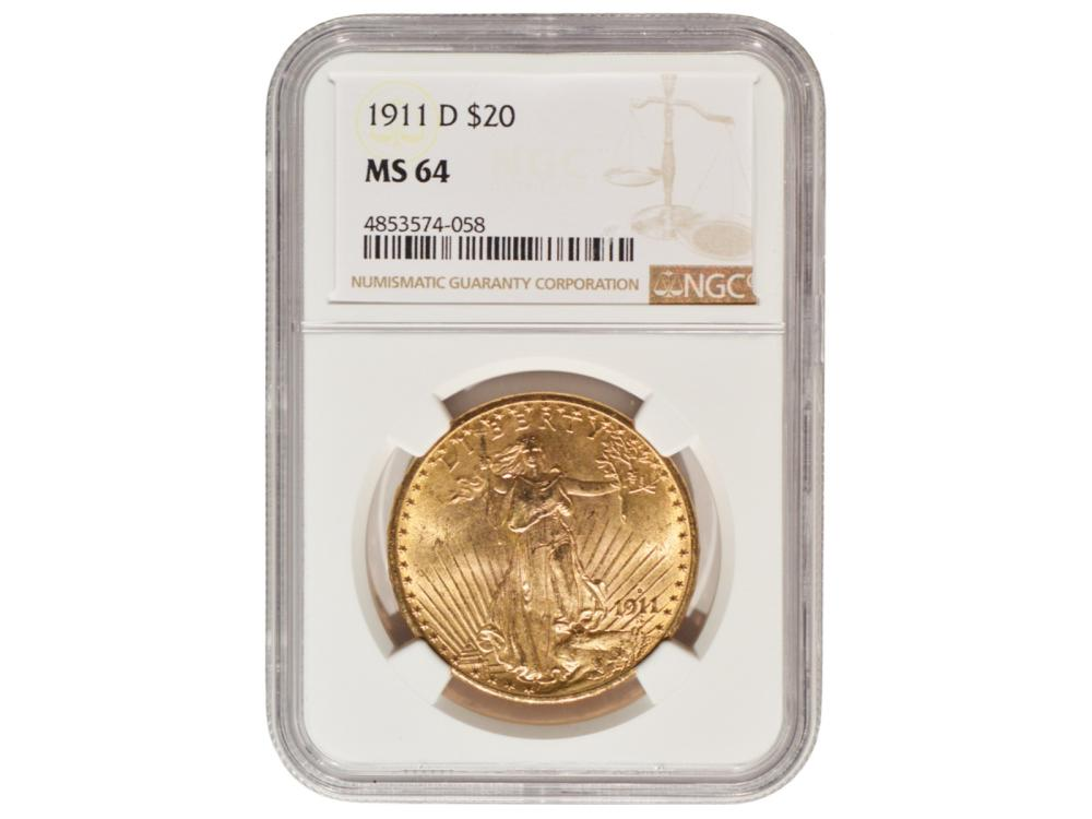 1911-D $20 St Gaudens Double Eagle Gold Coin NGC MS64