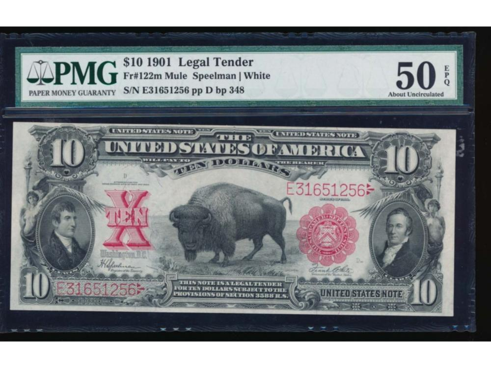 1901 $10 Bison Legal Tender Note PMG 50EPQ