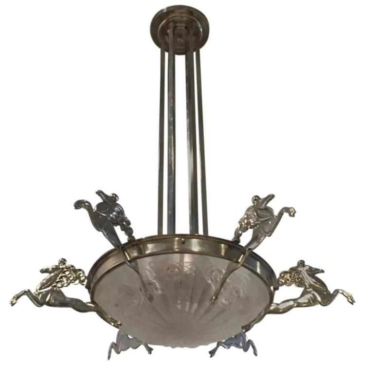 French Art Deco Chandelier Signed by Degue with Mythical Horses