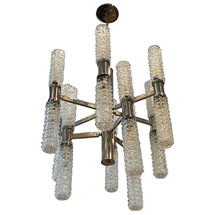 Italian Mid-Century Glass Chandelier