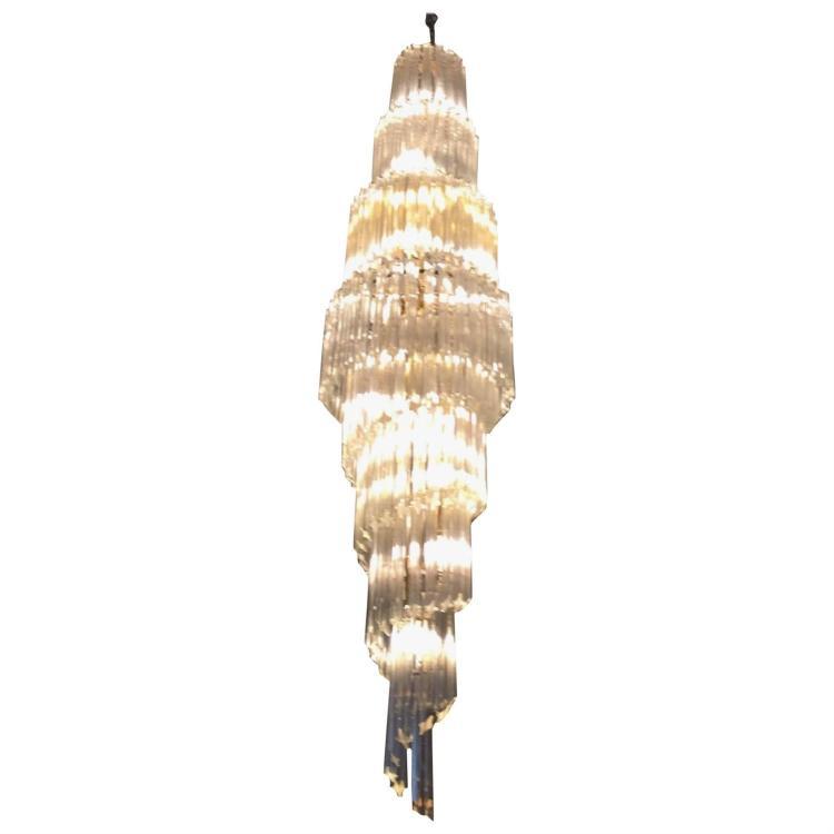 Mid Century Italian Murano Spiral Glass Chandelier by Venini