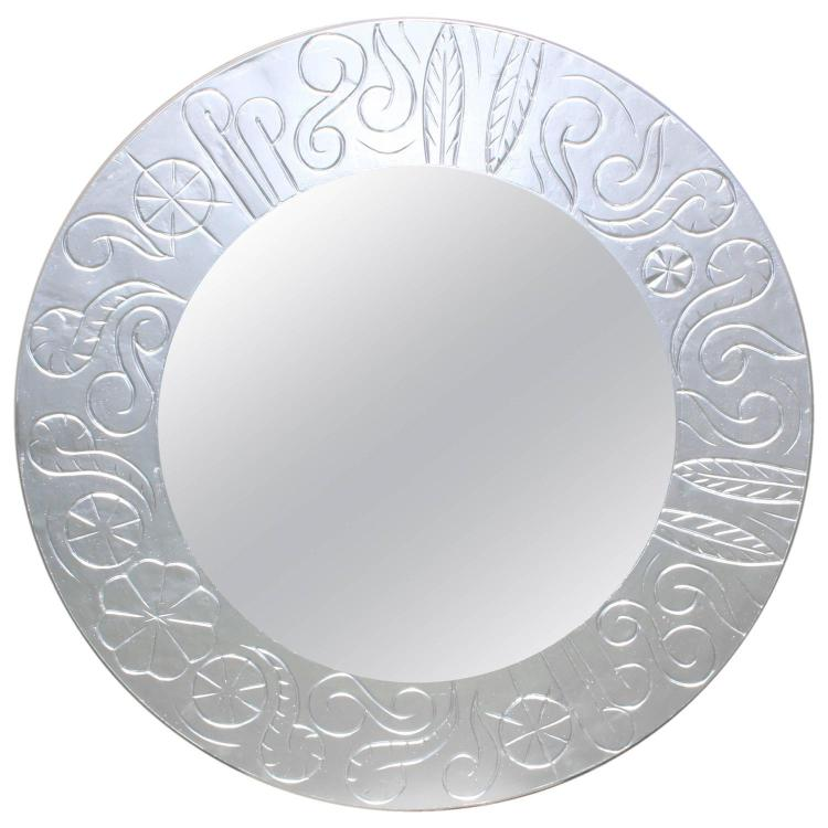 French Art Deco Silver Patina Plaster over Wood Relief Hotel Mirror, 1940