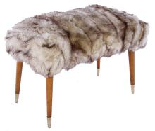 Italian Mid-Century Modern Fur Upholstered Bench, circa 1960