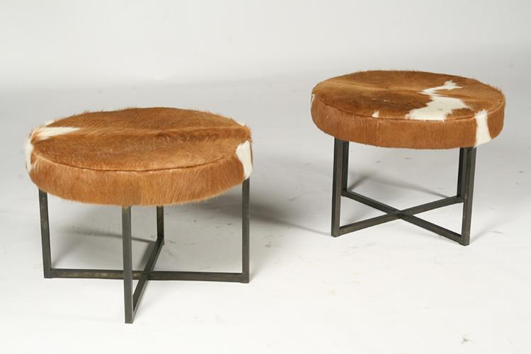 Pair of Circular Upholstered Cowhide Benches