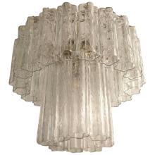 Mid-Century Italian Tronchi Glass Chandelier