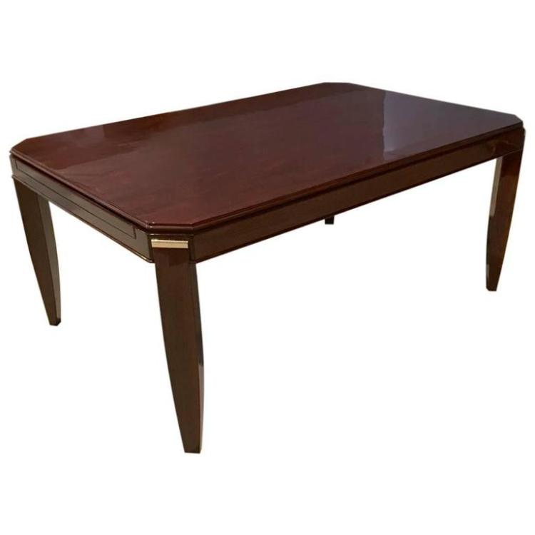 French art deco dining table with silver hardware - Silver dining tables ...