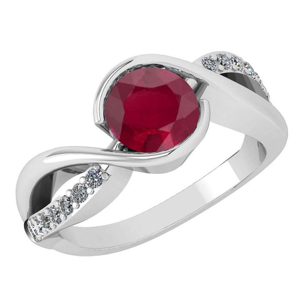 Certified 1.44 Ctw Ruby And Diamond 14k White Gold Halo Ring (SI2/I1) #1AC18370
