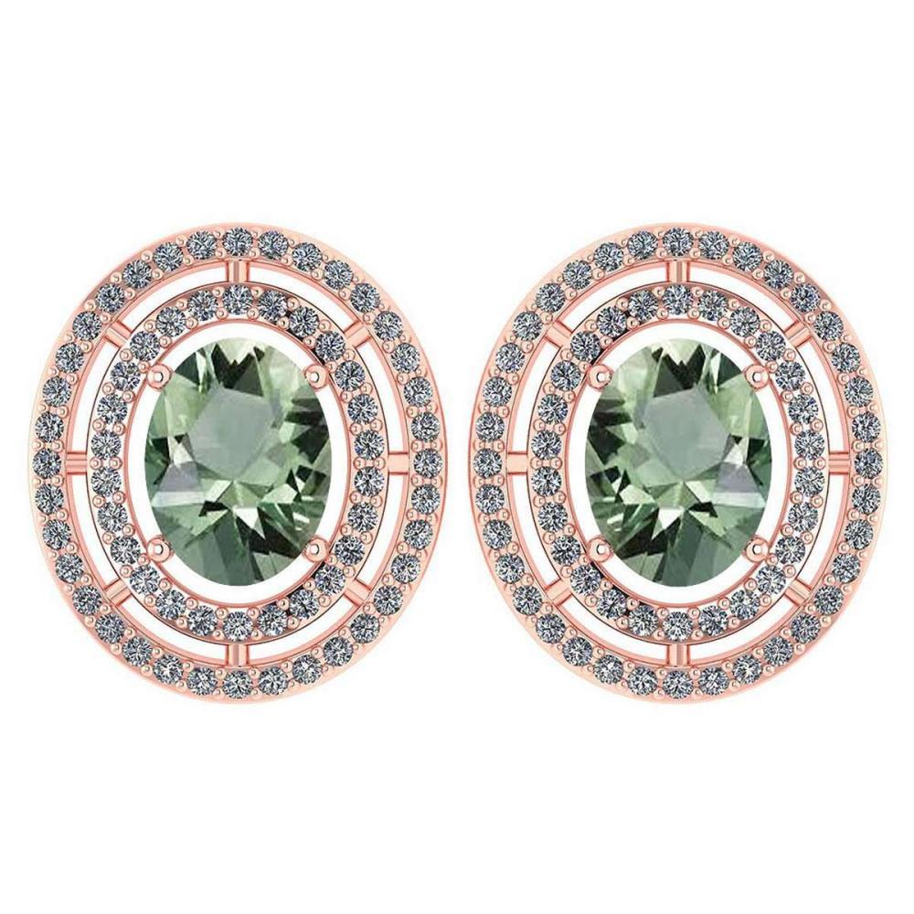 Certified 3.12 Ctw Green Amethyst And Diamond 18K Rose Gold Halo Stud Earrings #1AC99265