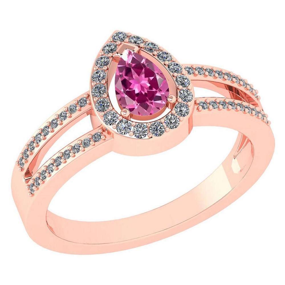 Certified 0.74 CTW Pink Tourmaline And Diamond 14k Rose Gold Halo Ring #1AC98688