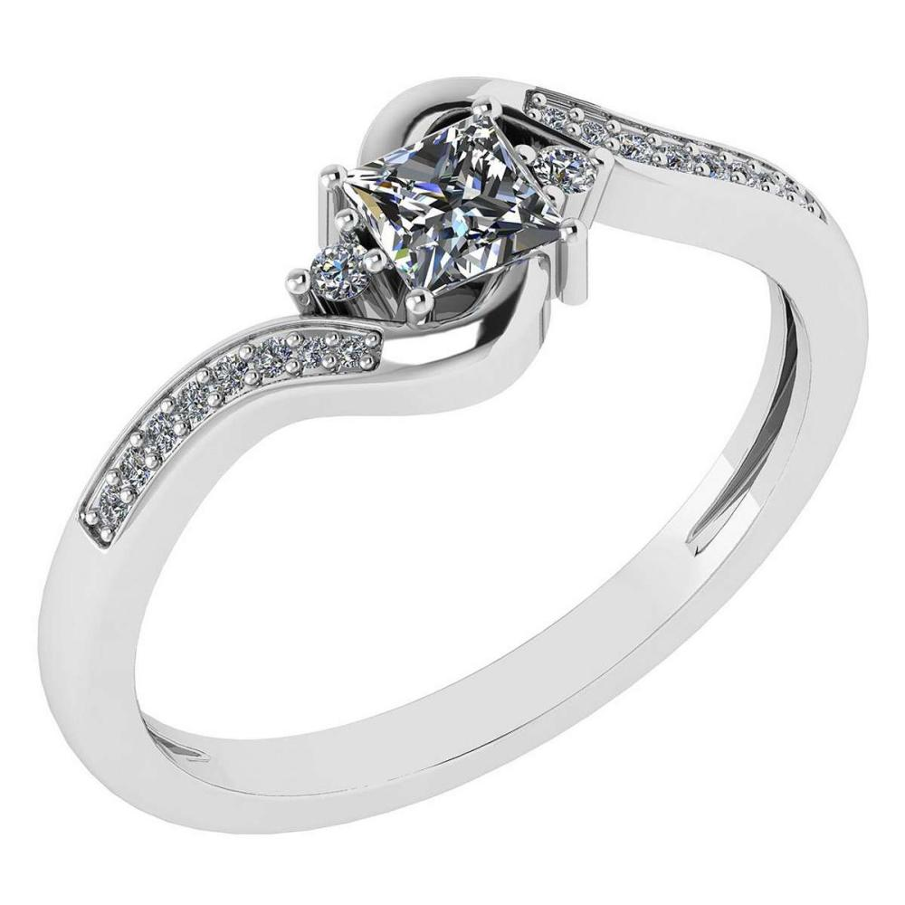 Certified 0.51 Ctw Diamond 14k White Gold Halo Promise Ring #1AC97374