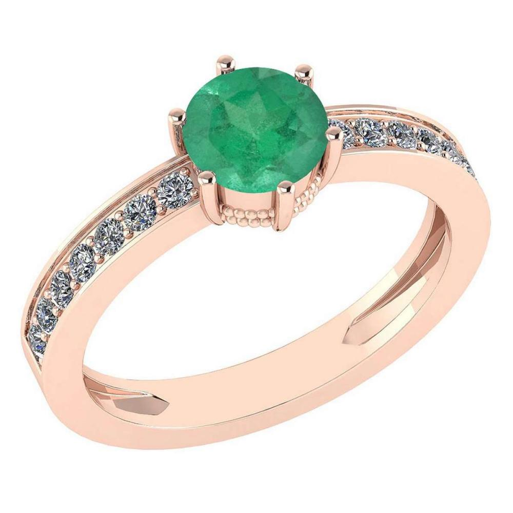 Certified 1.09 Ctw Emerlad And Diamond Wedding/Engagement Style 14K Rose Gold Halo Ring (VS/SI1) #1AC18675