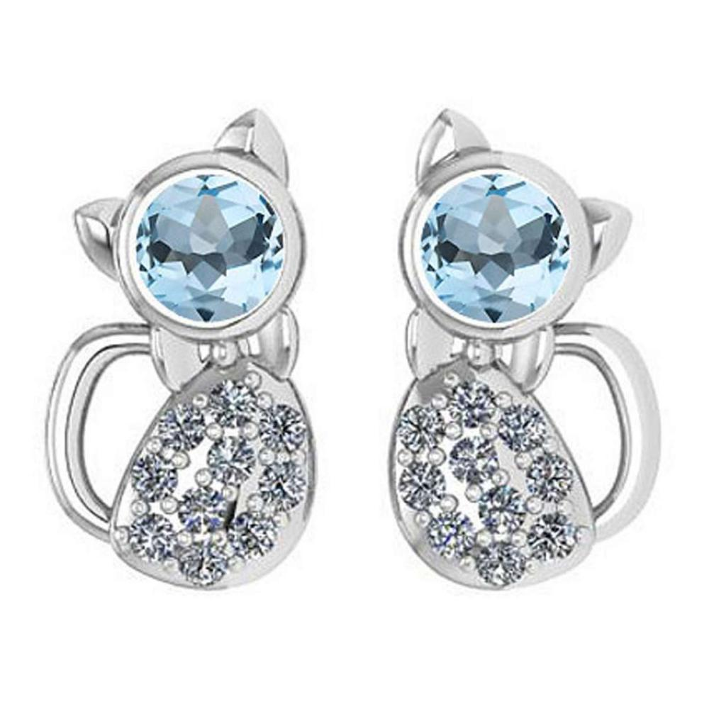 Certified 0.30 Ctw Aquamrine And Diamond 14k White Gold Halo Cat Earring (SI2/I1) #1AC18407