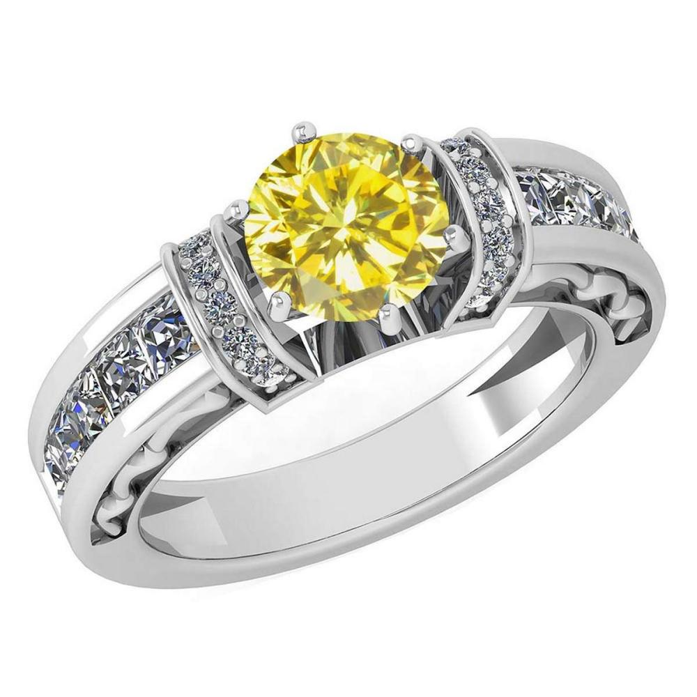 Certified 2.15 Ctw Treated Fancy Yellow Diamond And White Diamond 14K White Gold Halo Ring (SI2/I1) #1AC18636