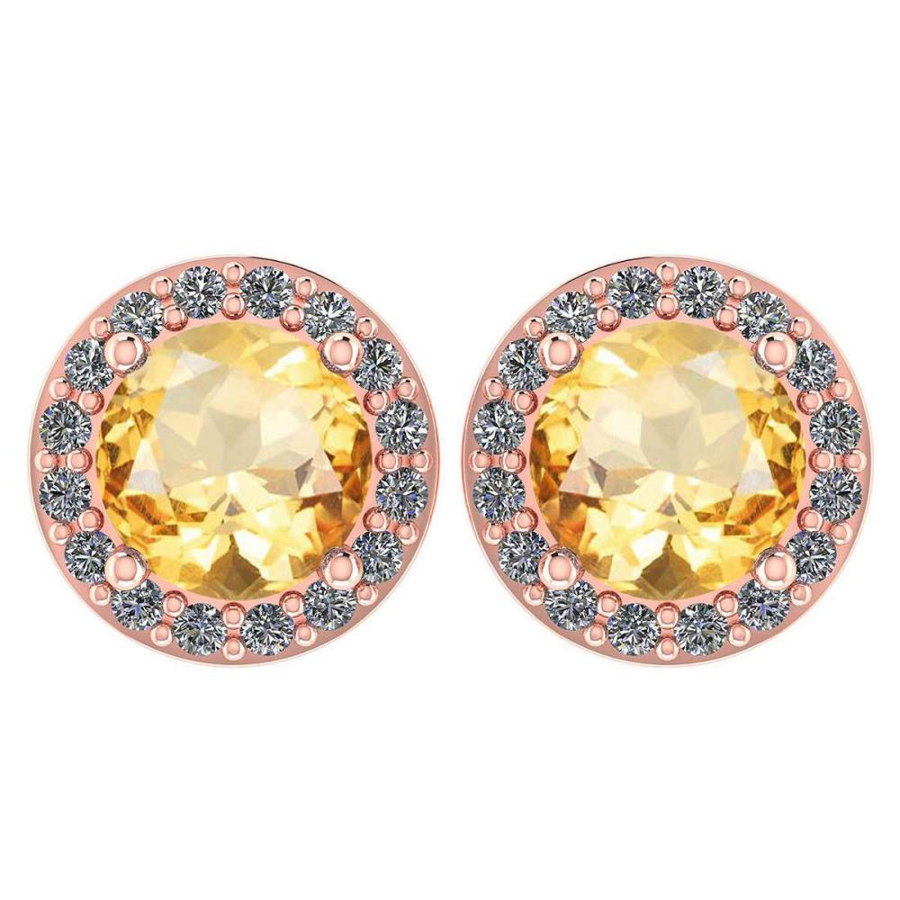 Certified 1.6 Ctw Citrine And Diamond 14k Rose Gold Halo Stud Earrings #1AC97519