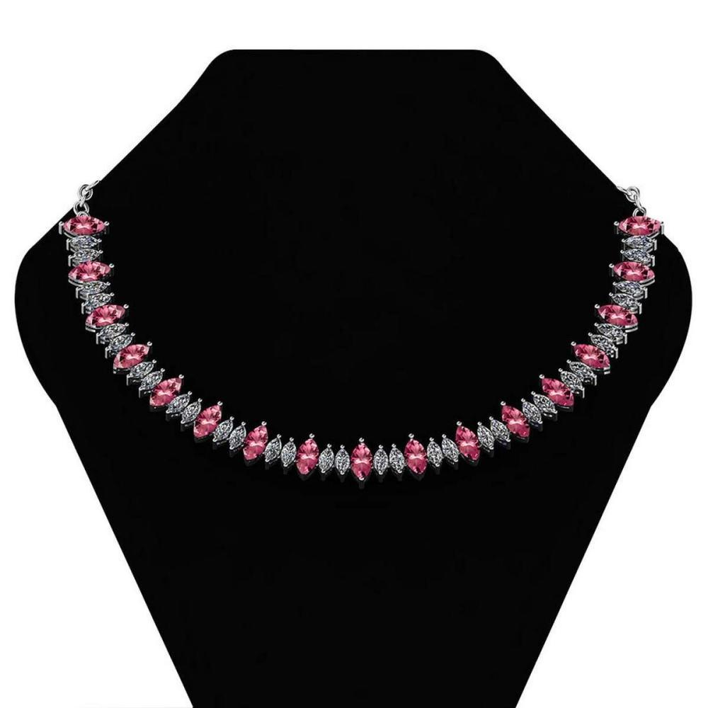 Certified 27.56 Ctw Pink Tourmaline And Diamond Necklace For womens 21st Century New collection 14K White Gold (I1/I2) #1AC18719