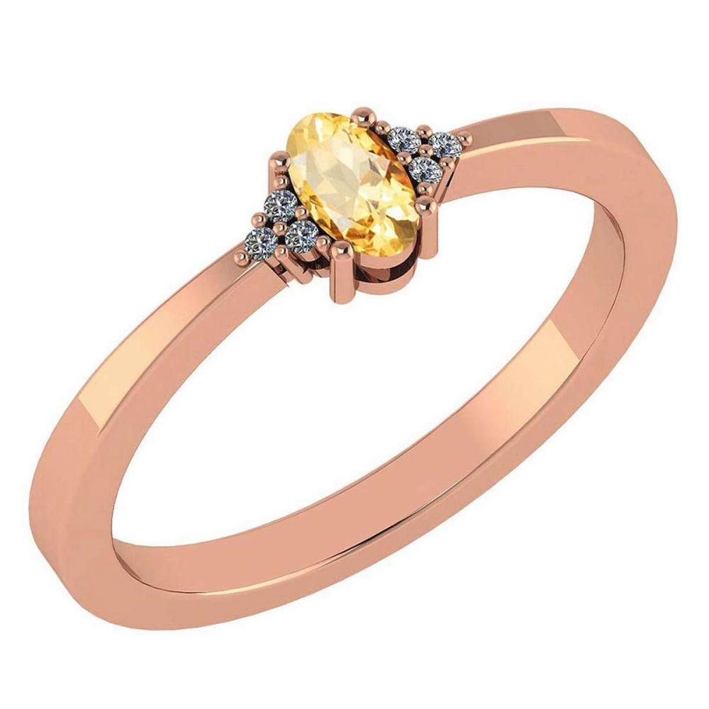 Certified 0.24 Ctw Citrine And Diamond 18K Rose Gold Halo Ring #1AC99199