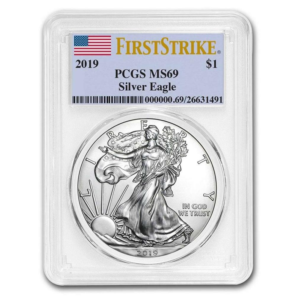 Certified Uncirculated Silver Eagle 2019 MS69 PCGS First Strike #1AC84527