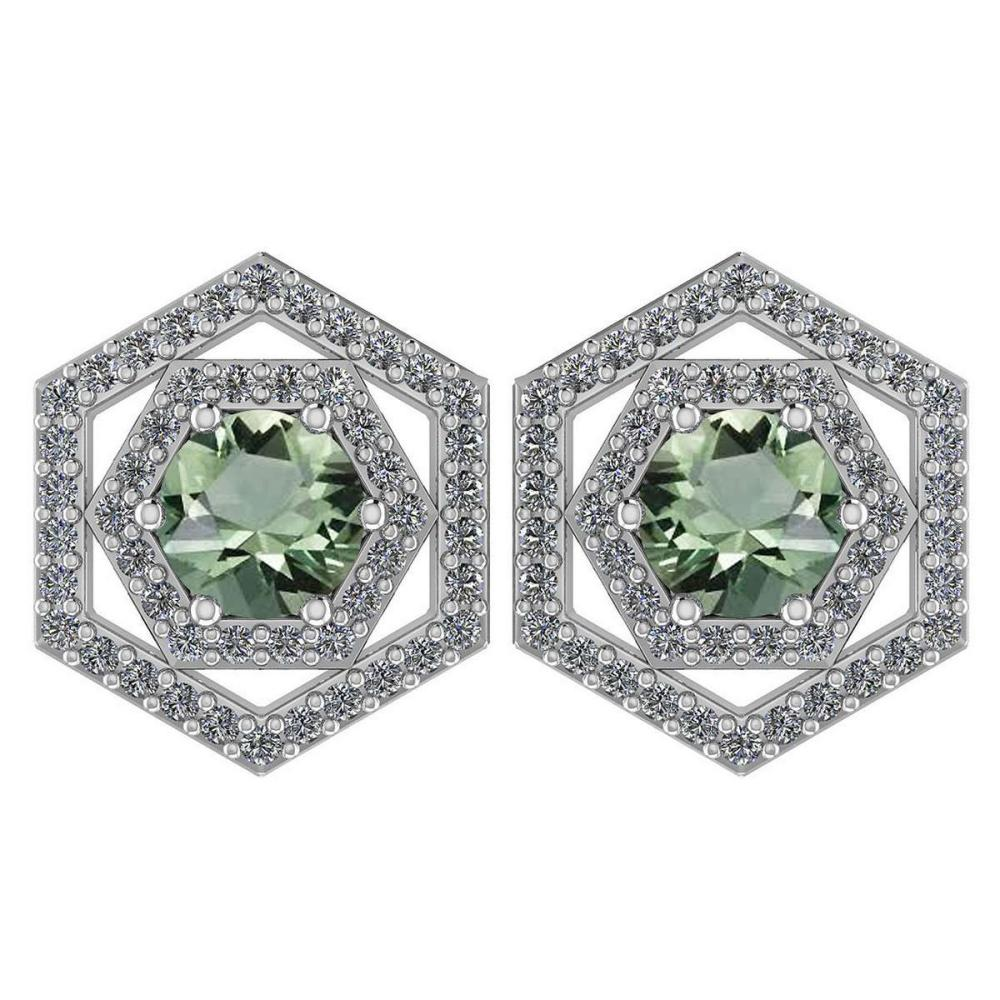 Certified 1.38 Ctw Green Amethyst And Diamond 14k White Gold Halo Stud Earrings #1AC97540