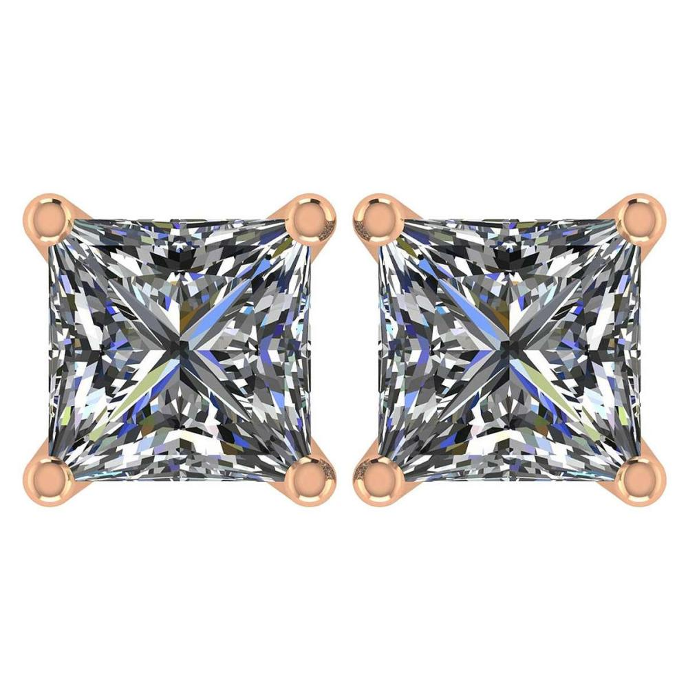 Certified 2.00 Ctw Diamond 14K Rose Gold Stud Earring #1AC97359