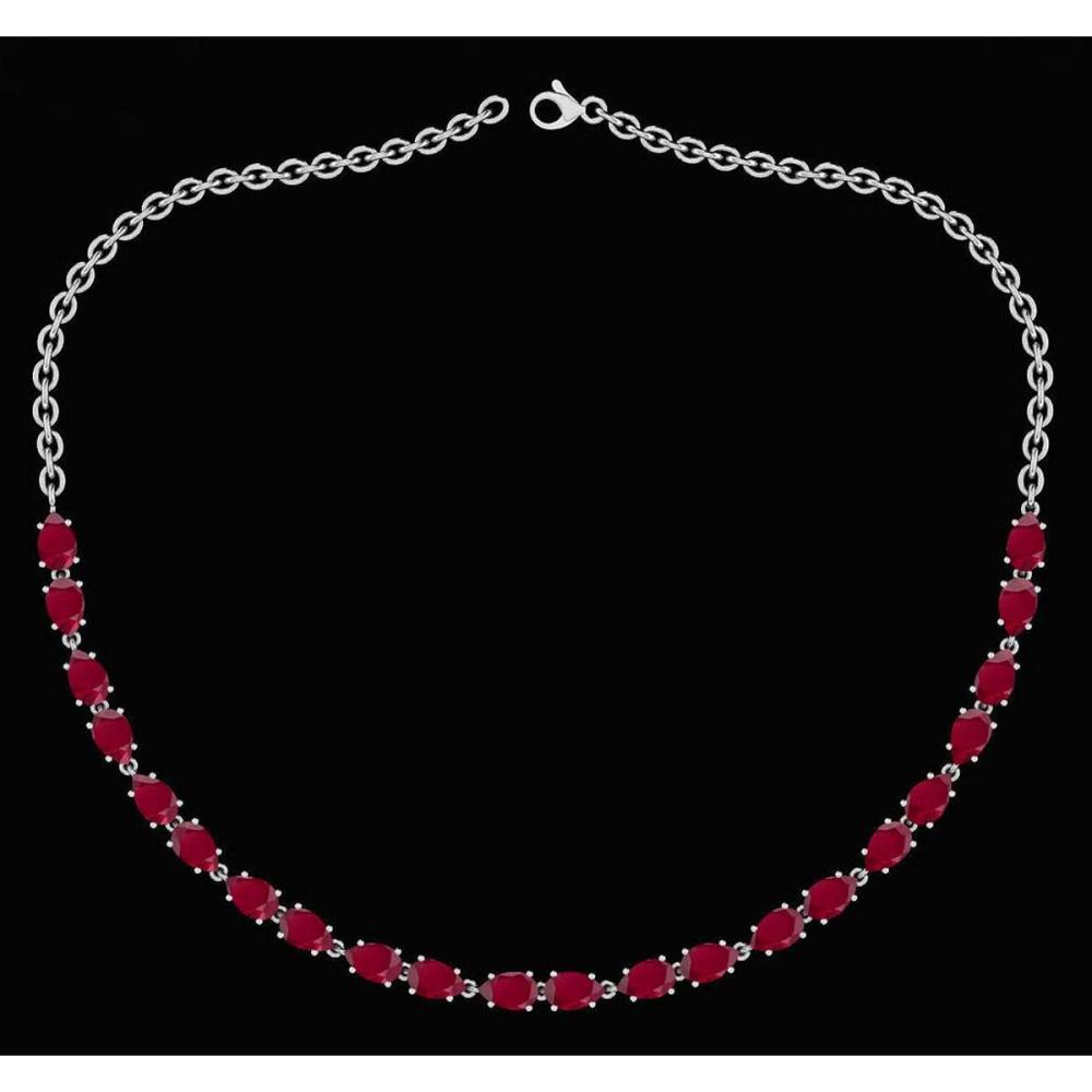 Certified 12.50 Ctw Ruby Pear Shape Necklace For womens 21st Century New collection 14K White Gold #1AC18754