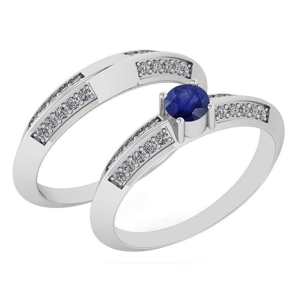 Certified .55 Ctw Blue Sapphire And Diamond Wedding/Engagement Style 14K White Gold Halo Ring (VS/SI1) #1AC18697