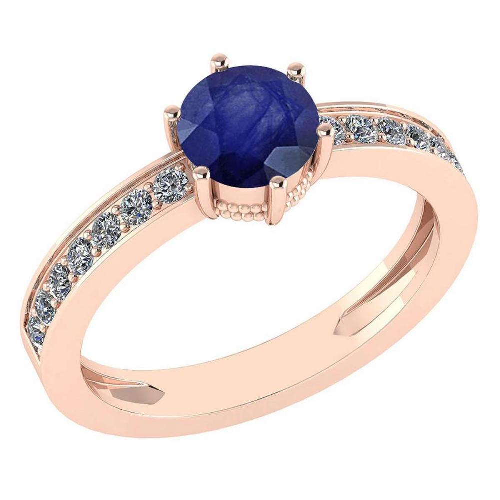 Certified 1.09 Ctw Blue Sapphire And Diamond Wedding/Engagement Style 14K Rose Gold Halo Ring (VS/SI1) #1AC18676