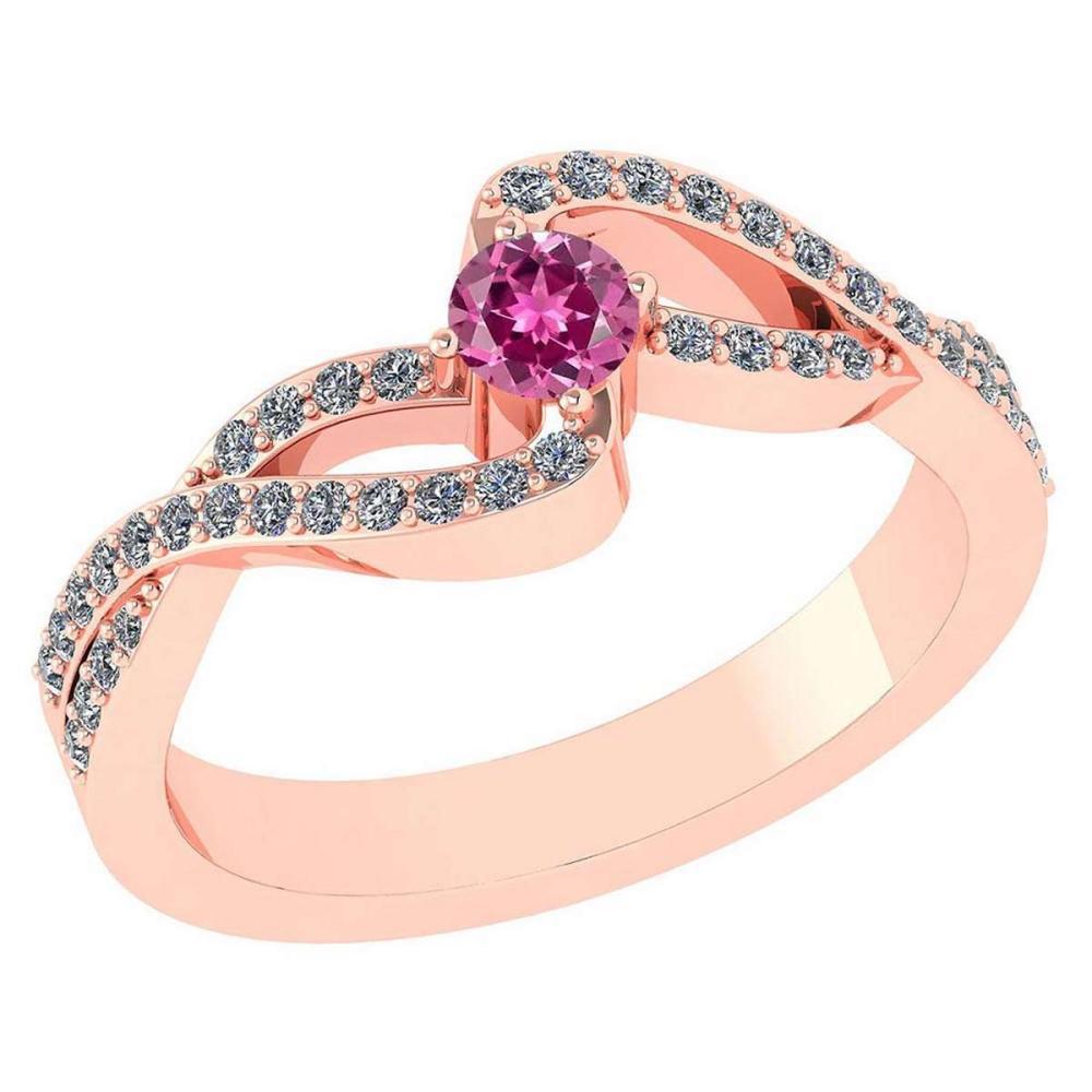 Certified 0.61 CTW Pink Tourmaline And Diamond 14k Rose Gold Halo Ring #1AC98556