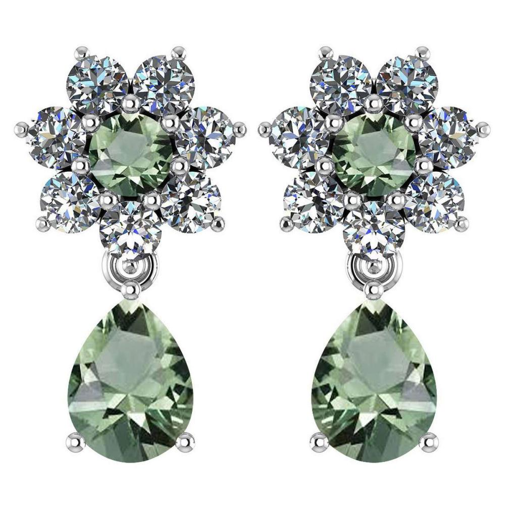 Certified 4.86 Ctw Green Amethyst And Diamond 14k White Gold Halo Dangling Earrings #1AC97474