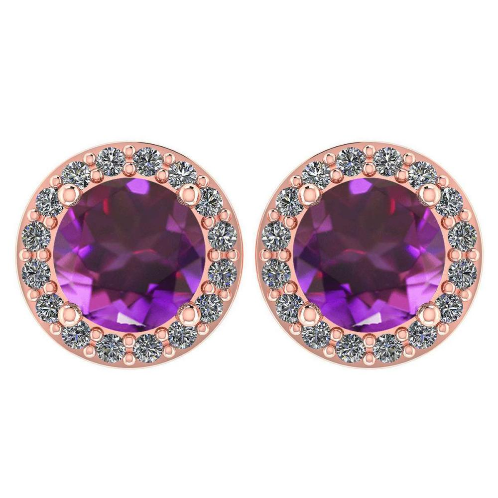 Certified 1.6 Ctw Amethyst And Diamond 14k Rose Gold Halo Stud Earrings #1AC97517