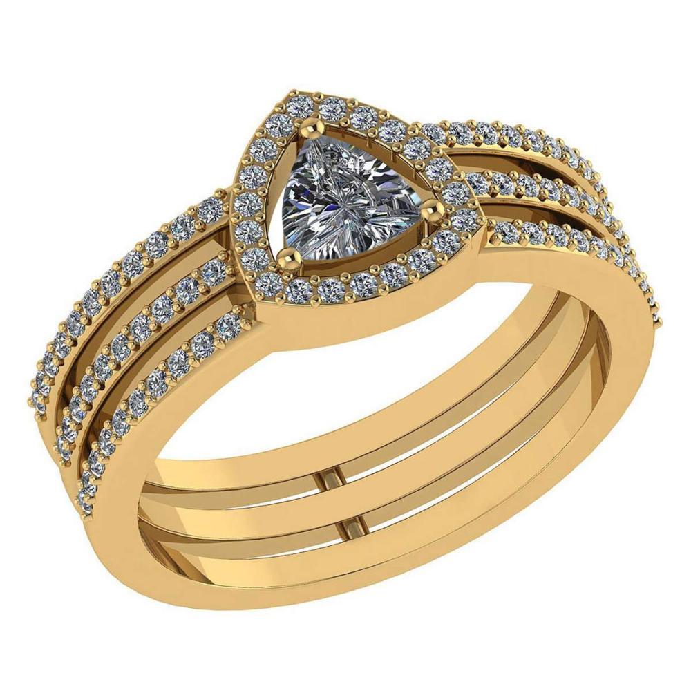 Certified 0.91 Ctw Diamond 14k Yellow Gold Halo Anniversary Ring #1AC97375