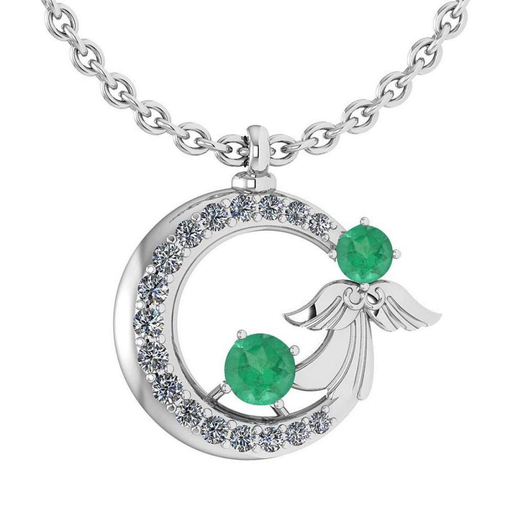 Certified 1.14 Ctw Emerlad And Diamond Tiny Angel Necklace For womens New Expressions love collection 14K White Gold (VS/SI1) #1AC18593