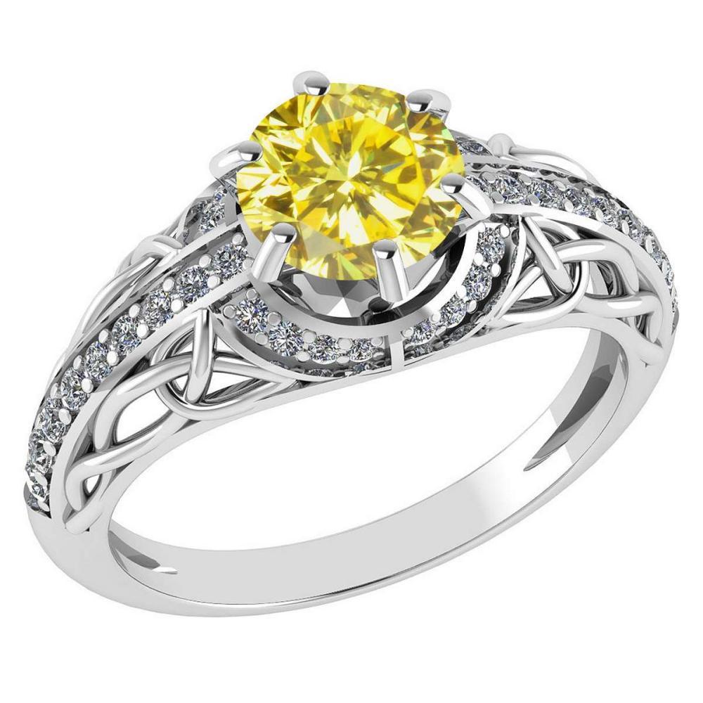 Certified 1.43 Ctw Treated Fancy Yellow Diamond And White Diamond 14k White Gold Halo Ring (I1/I2) #1AC18446