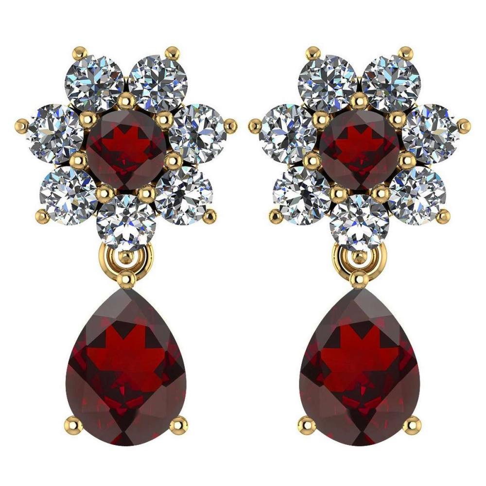 Certified 4.86 Ctw Garnet And Diamond 14k Yellow Gold Halo Dangling Earrings #1AC97498