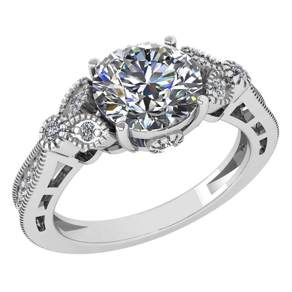 Certified 1.51 Ctw Diamond 14K White Gold Halo Ring #1AC15835