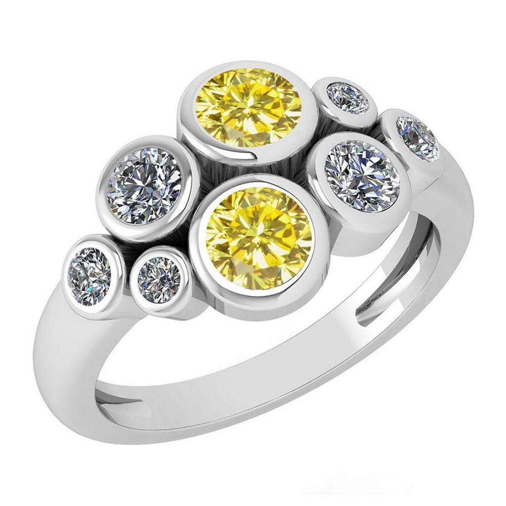 Certified 1.16 Ctw Treated Fancy Yellow Diamond And White Diamond 14k White Gold Halo Ring (VS/SI1) #1AC18117