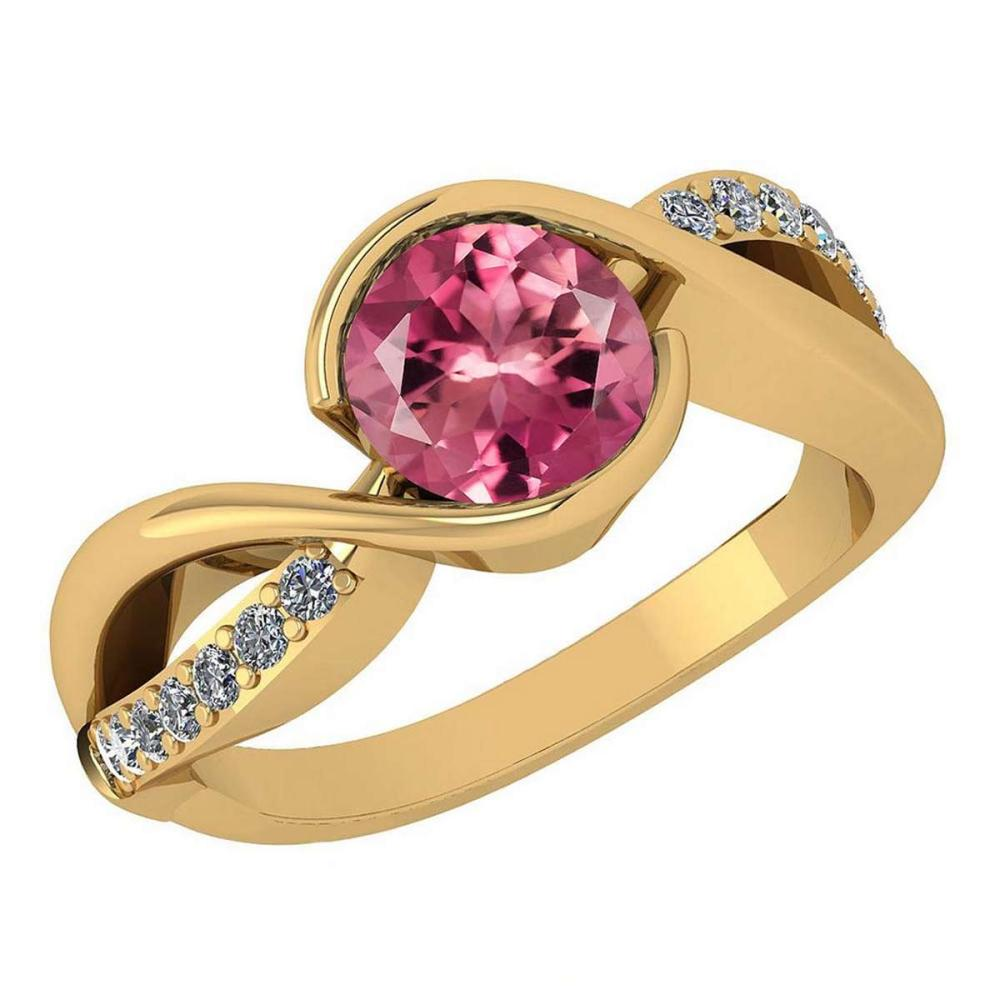 Certified 1.44 Ctw Pink Tourmaline And Diamond 14k Yellow Gold Halo Ring (VS/SI1) #1AC18119