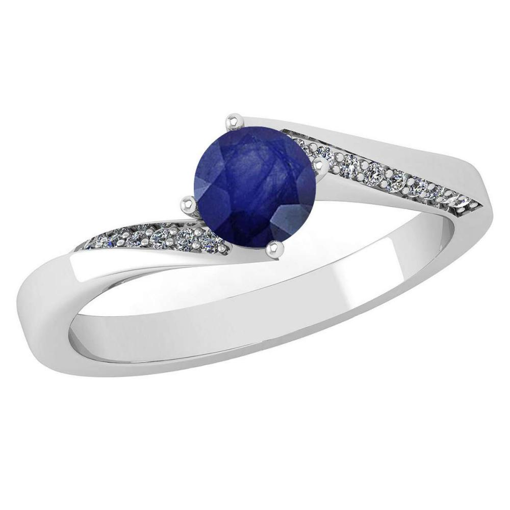 Certified 1.09 Ctw Blue Sapphire And Diamond 14k White Gold Halo Ring (SI2/I1) #1AC18423