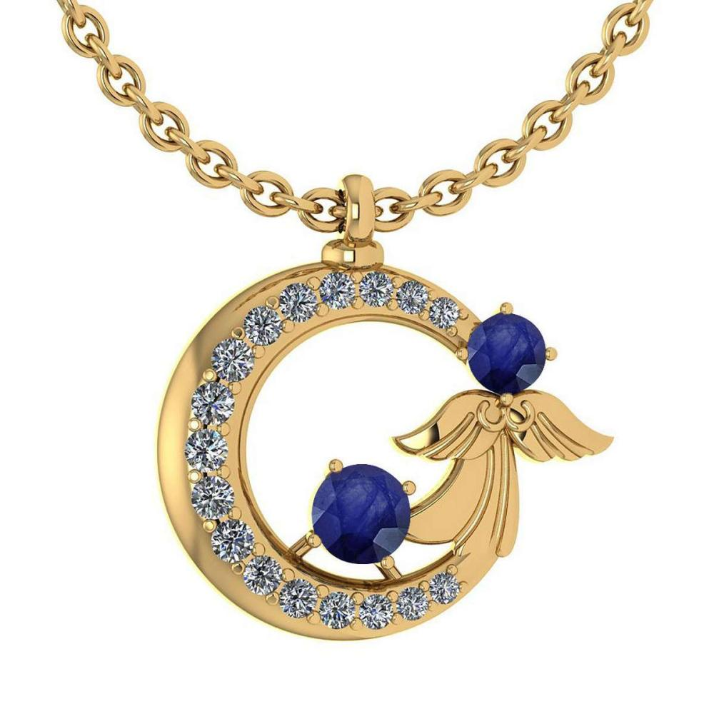 Certified 1.14 Ctw Blue Sapphire And Diamond Tiny Angel Necklace For womens New Expressions love collection 14K Yellow Gold (SI2/I1) #1AC18409