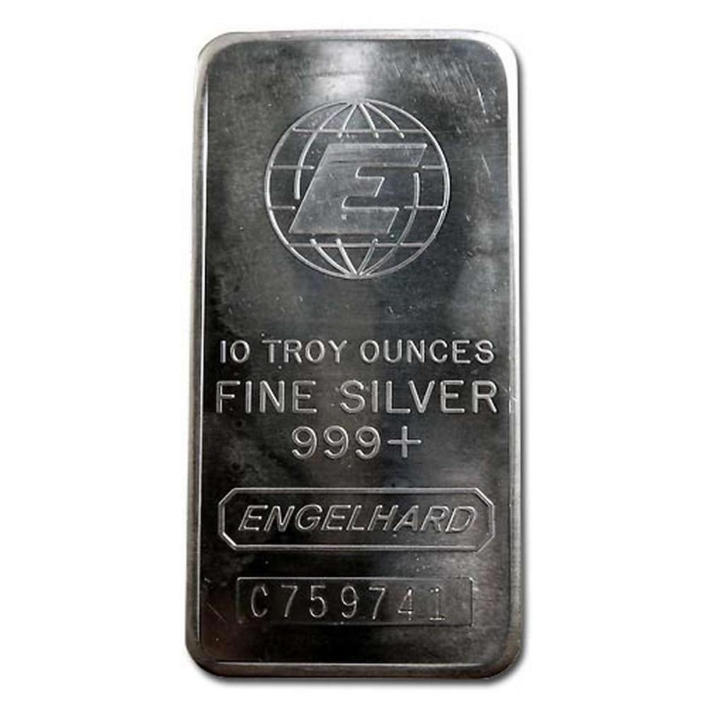 Engelhard Silver Bar 10 oz Bar - Tall E Globe #1AC96602