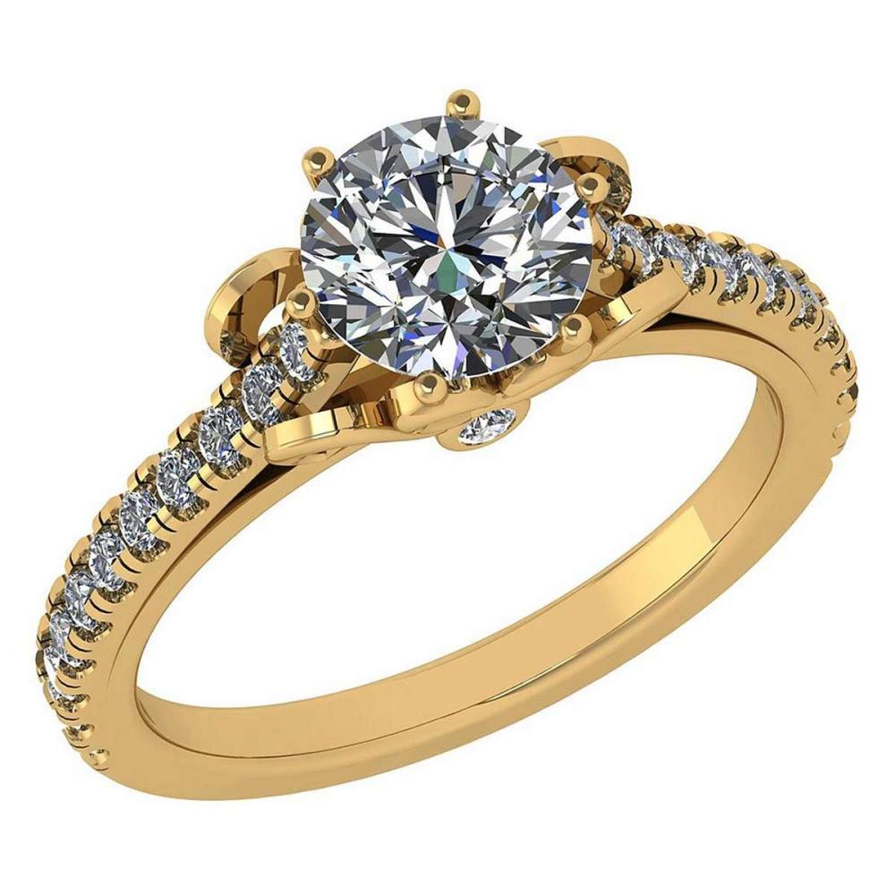 Certified 1.58 Ctw Diamond Halo Ring For Engagement New Expressions love collection 14K Yellow Gold (SI2/I1) #1AC19221