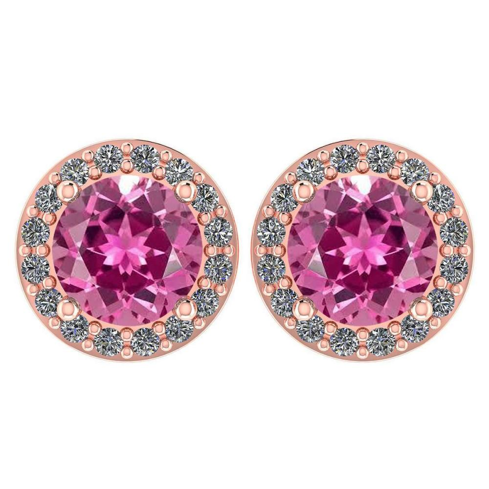 Certified 1.6 Ctw Pink Tourmaline And Diamond 14k Rose Gold Halo Stud Earrings #1AC97516